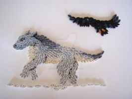 Wolf and the Raven Quilling by Blue-Storm-Spirit