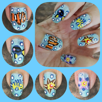 Sea Creatures Manicure Left by MikariStar