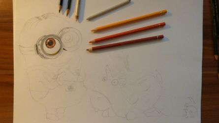 Agnes and Minion WIP 1 by Fivelinger
