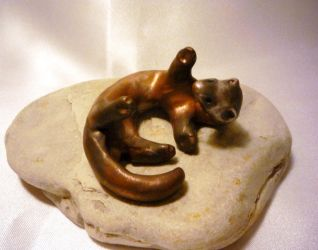 Playful Ferret Figurine by TouchstoneCreations