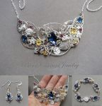 Jewelry set with blue, yellow and red stones by blackcurrantjewelry