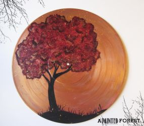 VInyl Record Painting - Copper and Red by paperheartsyndrome