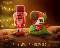 Daily Paint 1496. Polly Want a Nutcracker by Cryptid-Creations