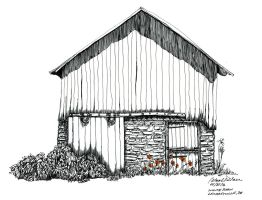 2016 White barn with orange poppies by Cwmm