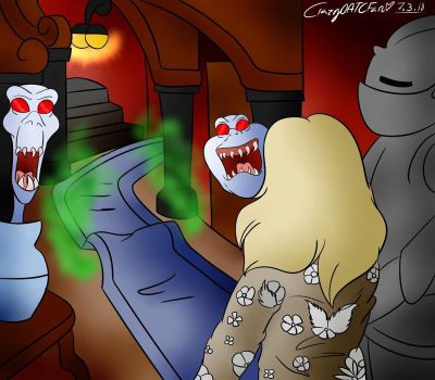 ~ Ghostly trio scaring Amber ~ Re draw ~ by CrazyOATCFan