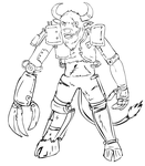 Brutus the cyborg minotaur lineart by glue123