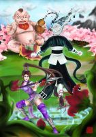 Peach Blossom forest battle by PhoenixiaRed