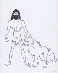 Samurai Jack and White Wolf by Nes44Nes