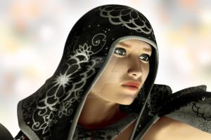 Hooded Woman - Portrait by Elle-Arden