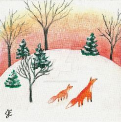 Two Foxes by Justine-Ehlers