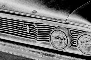 64 Ford front B+W by happymouse666