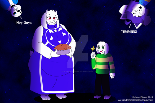 Toriel and Asriel (with San and Temmie) by AlexanderSie