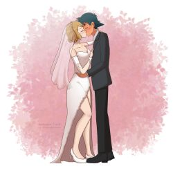 (Comm) Ash and Serena's Wedding Kiss by ipokegear