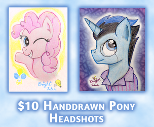 Pony Headshot Commissions (OPEN) by A-Bright-Idea