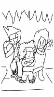 Sketch of Yukan 3 Protagonists by supersysscvi