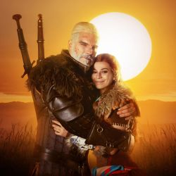 Geralt and Aloy - Horizon and Witcher cosplay by LuckyStrikeCosplay