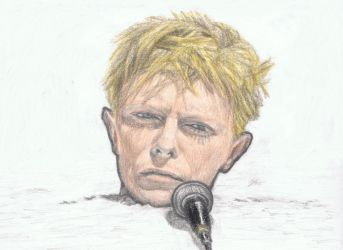 David Bowie's head with a microphone by gagambo