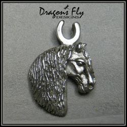 Horsehead Pendant Friesian Jewelry Horse Necklace by DragonsFlyDesigns