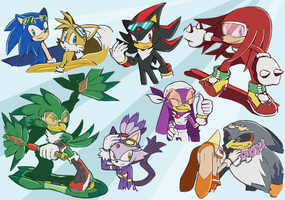 -STH Sonic Riders Doodles- by Biko97