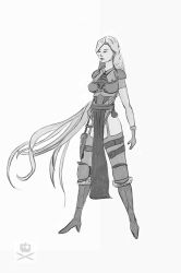 Mage Marie Sketch bw by tr4ze