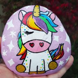 Rainbow Unicorn - painted rock  by Batnamz