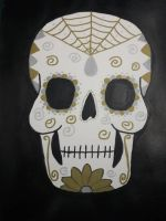 silver and gold sugar skull by TaitGallery