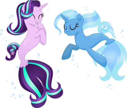 Seaponies - Starlight and Trixie by LimeDazzle