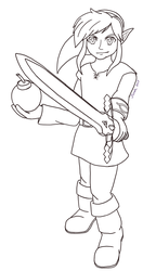 Link - The Legend of Zelda: ALBW - Line Art by Dark-and-One-Other