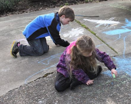 Drawing on the ground by ArtistStock