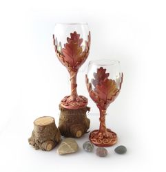 Oak Leaf Wine Glass Handmade with Polymer Clay by Gempai-Creations