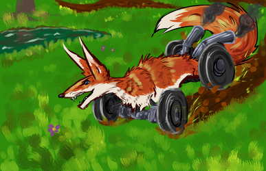 The Racing Fox by ParticleSoup