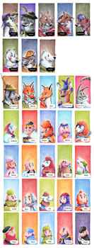 Bad Wolves and Good Sheeps Card Game: Characters by karpfinchen