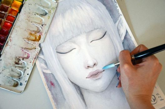 Elf watercolor painting by Anastasja-A-Art