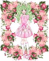 Midori in the rose garden by kormossandra
