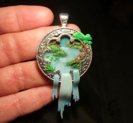 Sacred Waterfall II - handsculpted Pendant by Ganjamira