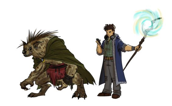 Commission: The Gnoll and the Nerd by Skyserpent