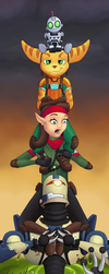 Ratchet and Clank Stretching Portrait #1 by TheDuckofIndeed