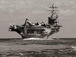 Giantess on carrier by zed782