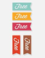 Price Tags Stickers Ribbons by FreePSDDownload