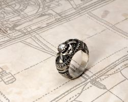 Steampunk ring Regrediendum by GatoJewel-DerKater