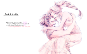 Zack x Aerith - wallpaper by Ekumimi
