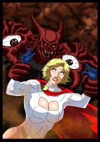 Powergirl Vs Scarabus - I don't know you... by adamantis