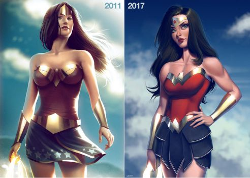 Wonder Woman 2011 vs 2017 by lenadrofranci