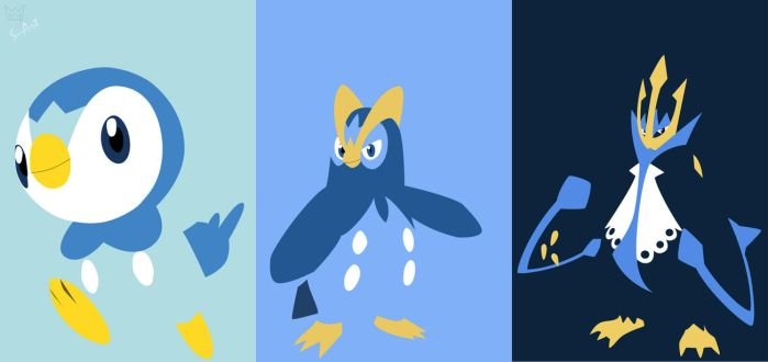 Piplup evolution line by S--Art