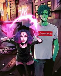 Raven and Beastboy on the rooftop. by watermelonkid
