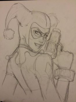 Classic Harley Quinn sketch Work in Progress  by Dawn-McTeigue