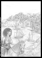 Midda goes to Seviath: pencil version from Book I by middaschronicles