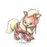 Growlithe wearing an Arcanine Onsie