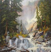 Rocky Mountain Waterfall by artistwilder