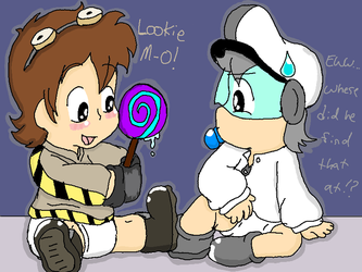 Baby M-O and Baby Wall-E by Steampunky-Bunny-Boo